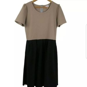 LuLaRoe  Amelia Dress in Taupe and Jet Black
